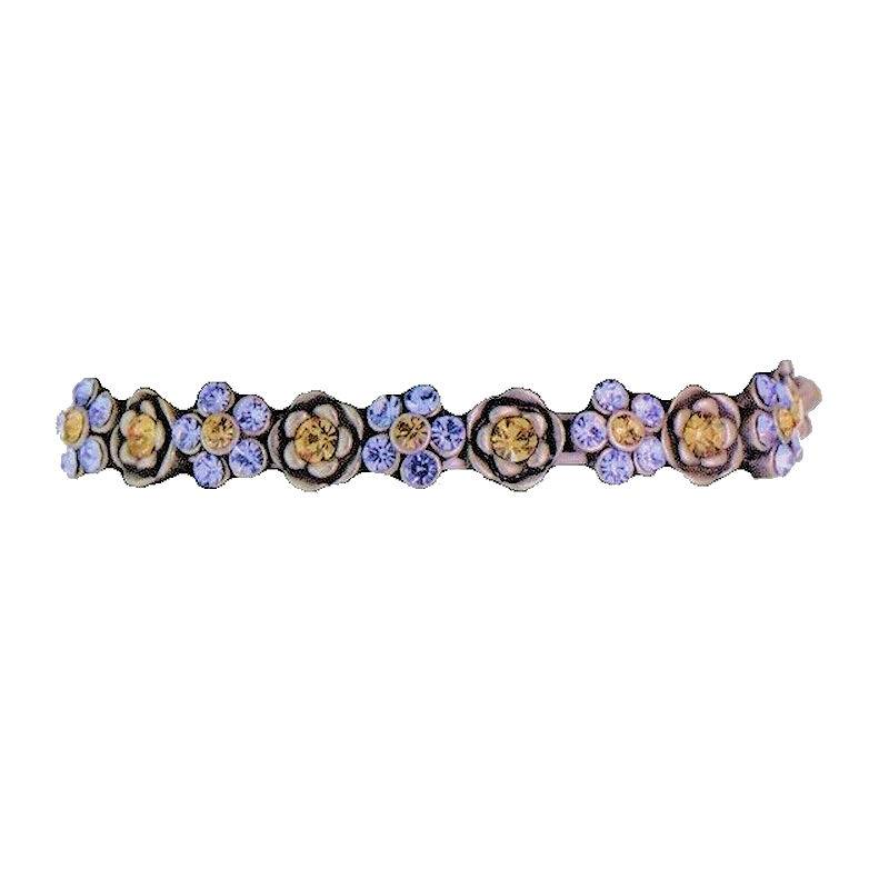 Bracelet Crystal Flower with Teal and Yellow Flowers