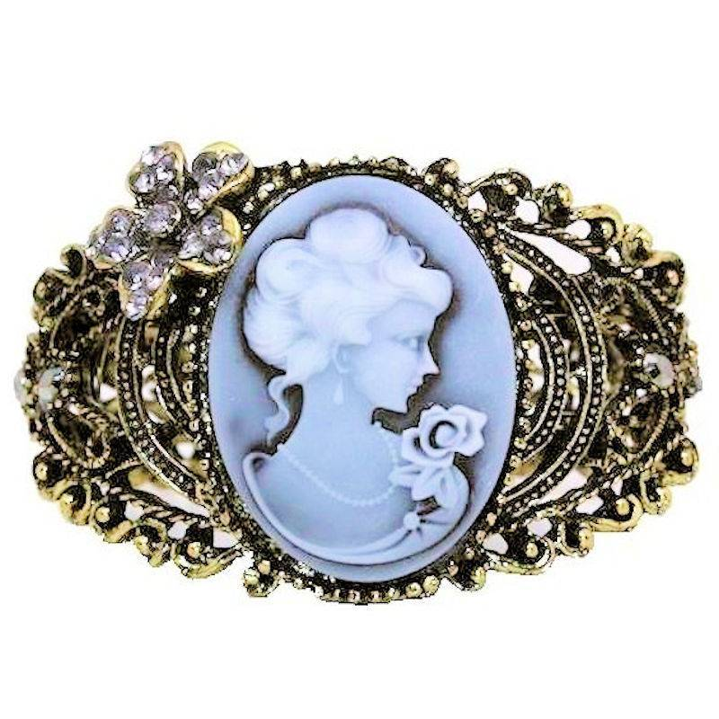 Bracelet Vintage Style Cuff with Cameo and Crystals