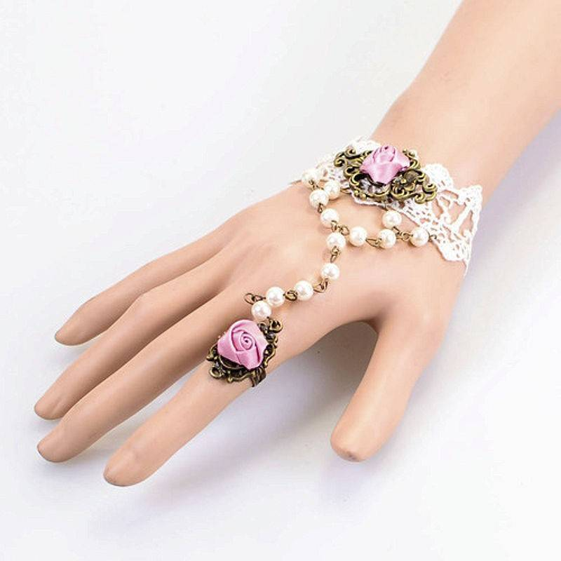 Bracelet Vintage Rose Beaded White Lace with Ring Chain