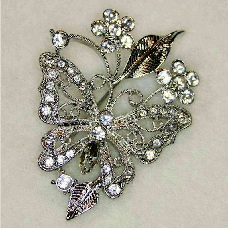 Lapel Pin Butterfly Brooch with Crystals by Spring Street Design