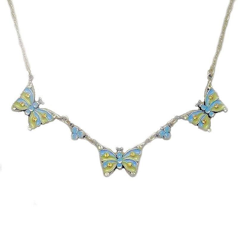 Butterfly Necklace Opal Gemstones and Crystals