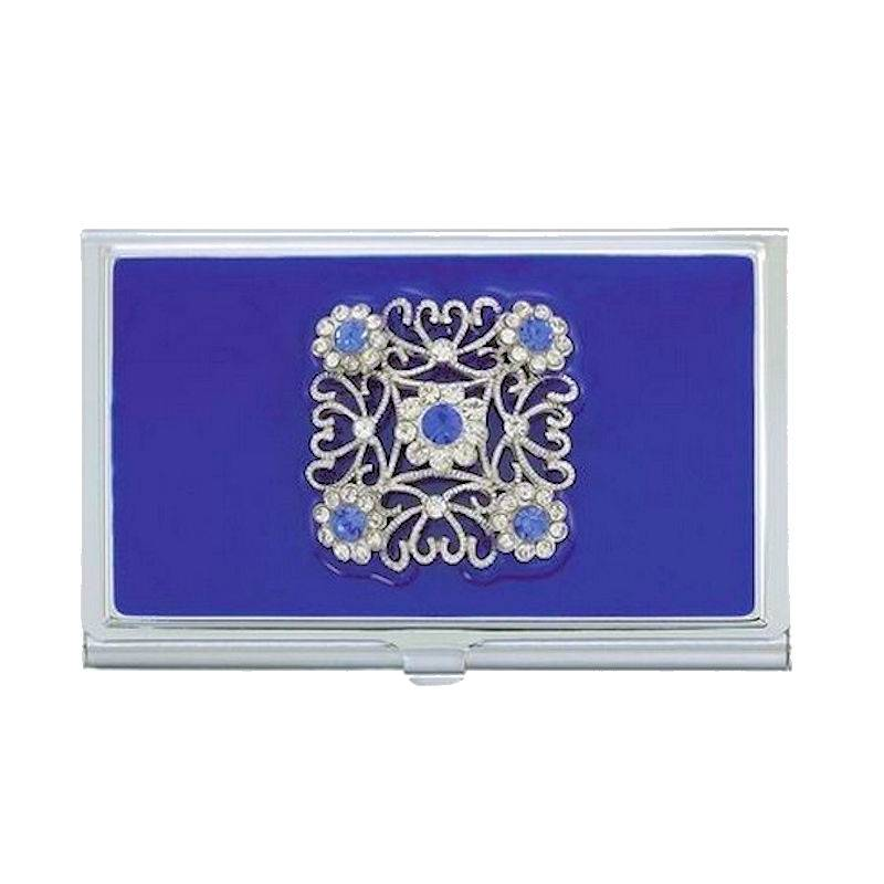 Metal Wallet and Business Card Holder Blue Ice Sparkle