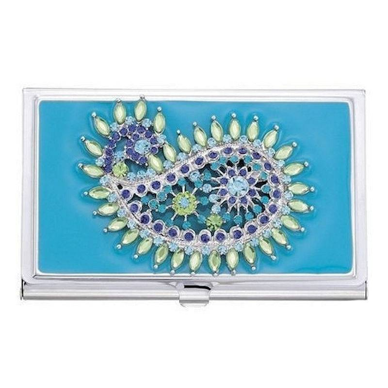 Metal Wallet and Business Card Holder Paisley Teal Teardrop