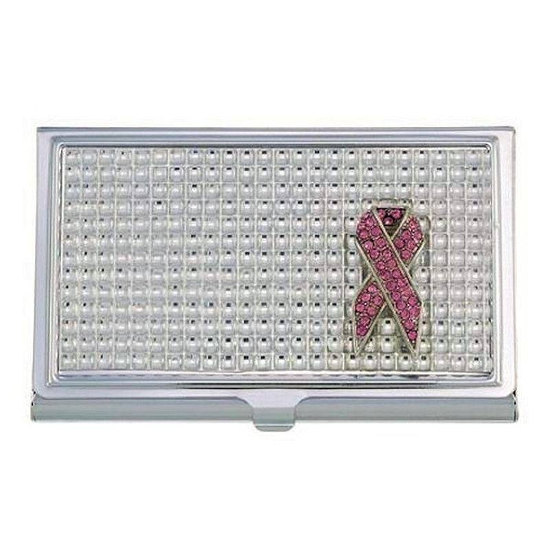 Metal Wallet and Business Card Holder Pink Ribbon