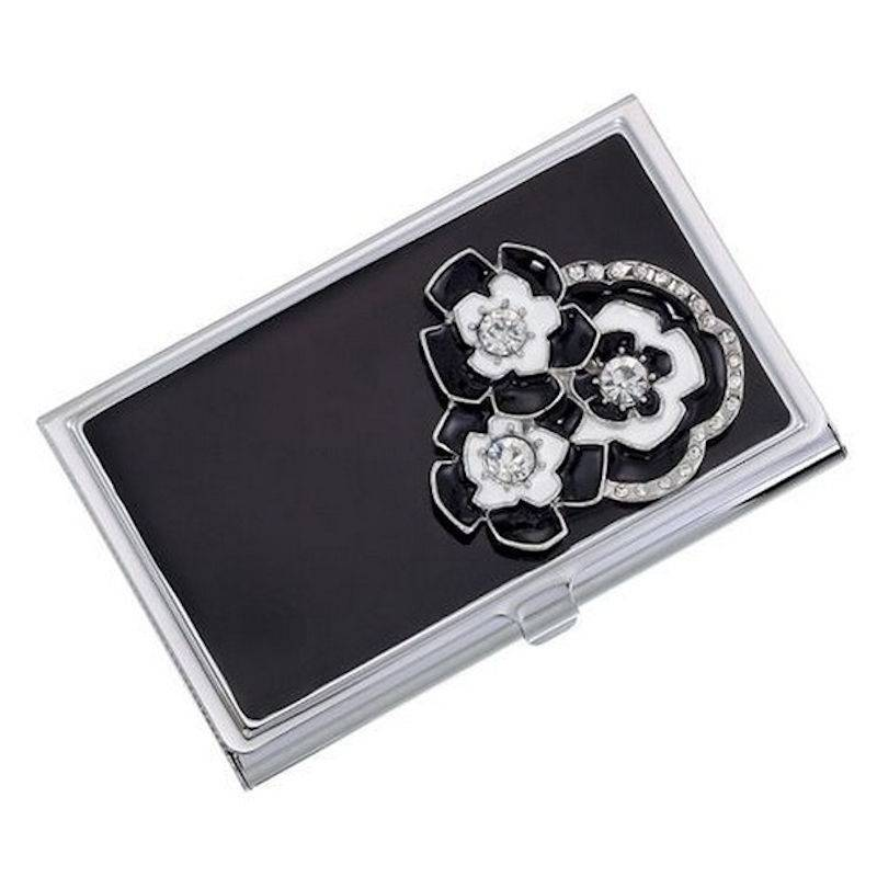 Metal Wallet and Business Card Holder Tuxedo Flowers
