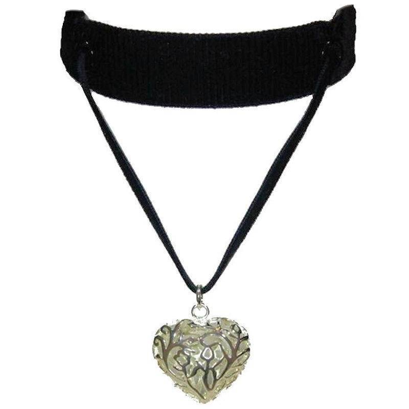 Choker Necklace Vintage Black Dominatrix with Silver Heart Charm