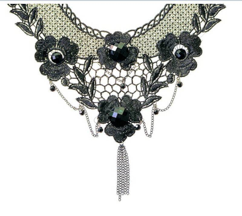 Choker Necklace Black Lace Enchantment Beaded Collar