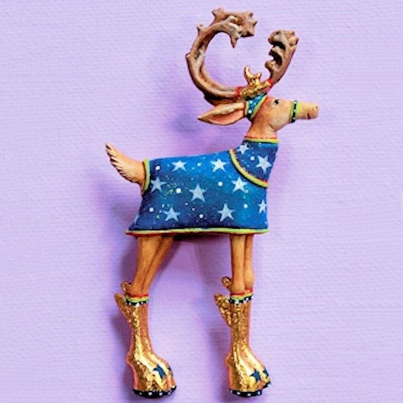 Dash Away Comet Reindeer Lapel Pin by Patience Brewster