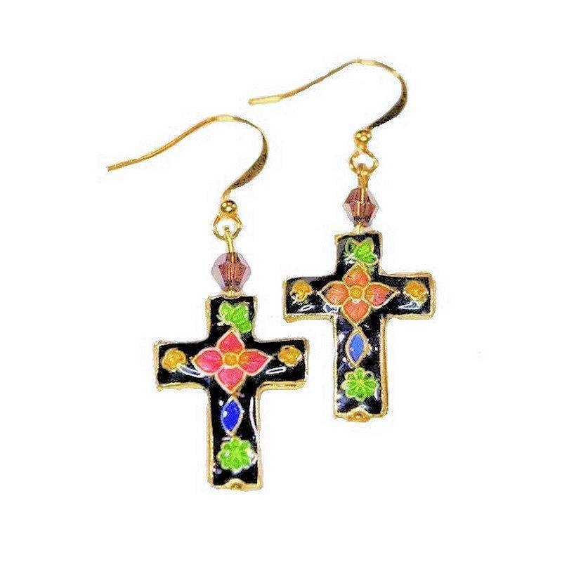 Earrings Cloisonne Beaded Cross with Glittering Crystals