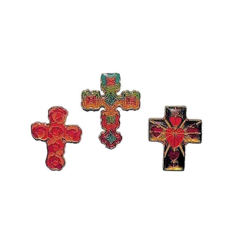 Cross Lapel Pin Enamel in Bright Colorful Patterns