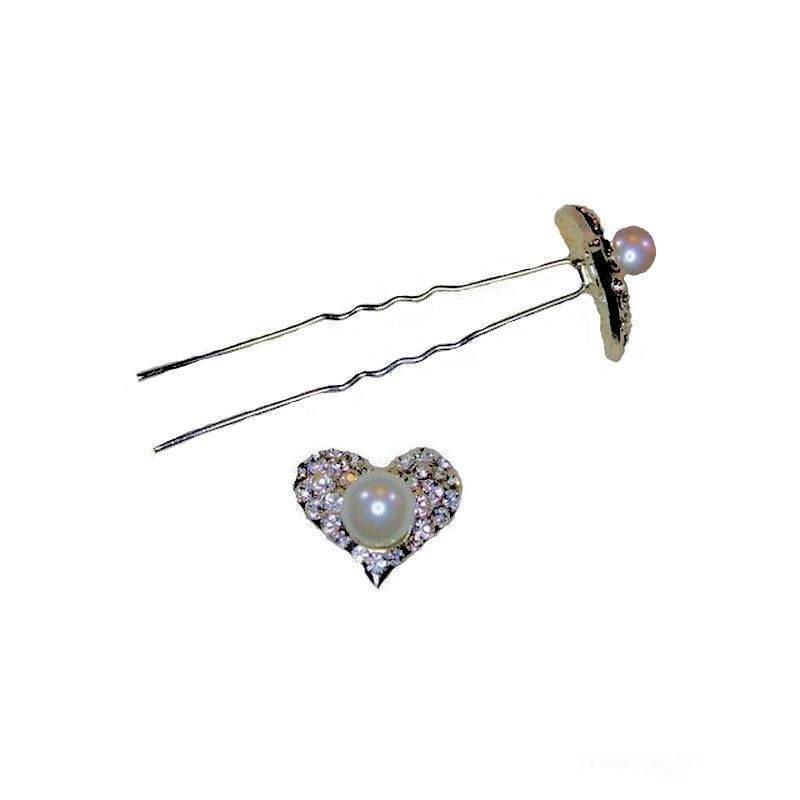 Bridal Hair Pins Crystal Heart with Pearl Bead Center
