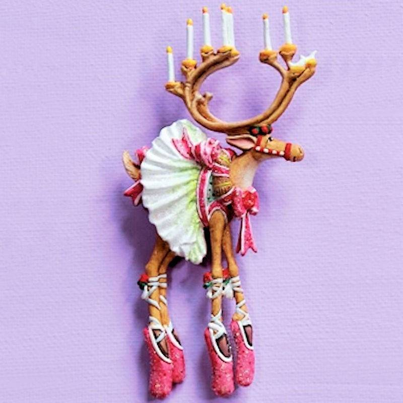 Dash Away Dancer Reindeer Lapel Pin by Patience Brewster