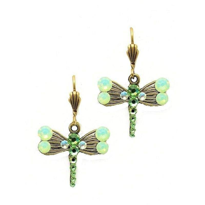 Earrings Dragonfly with Opal Gemstones
