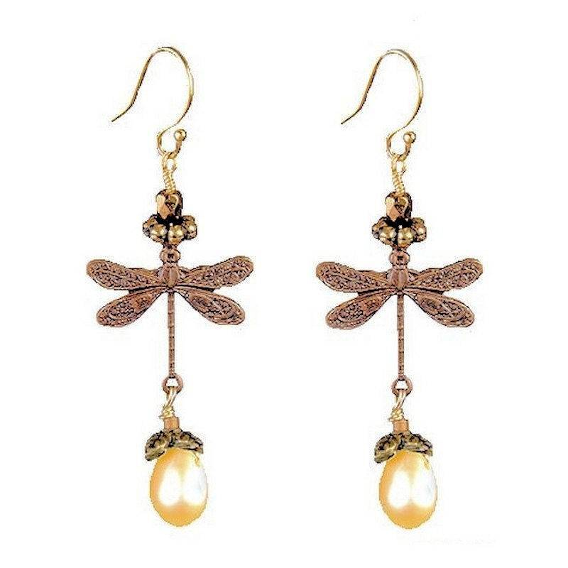 Dragonfly Earrings Vintage Style with Genuine Pearl Drops