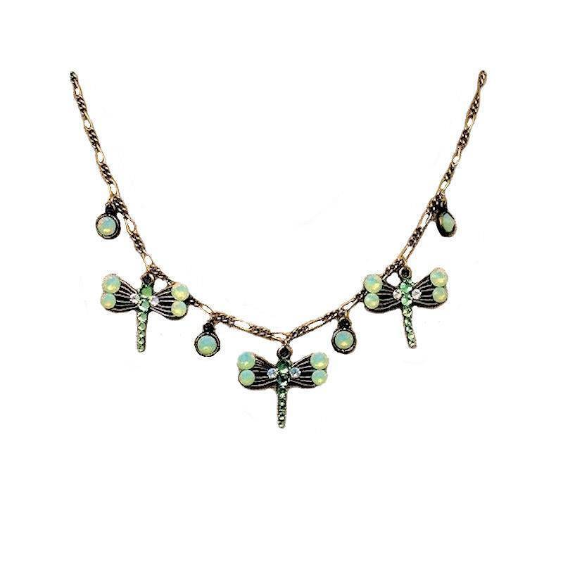 Dragonfly Necklace with Opal Gemstones