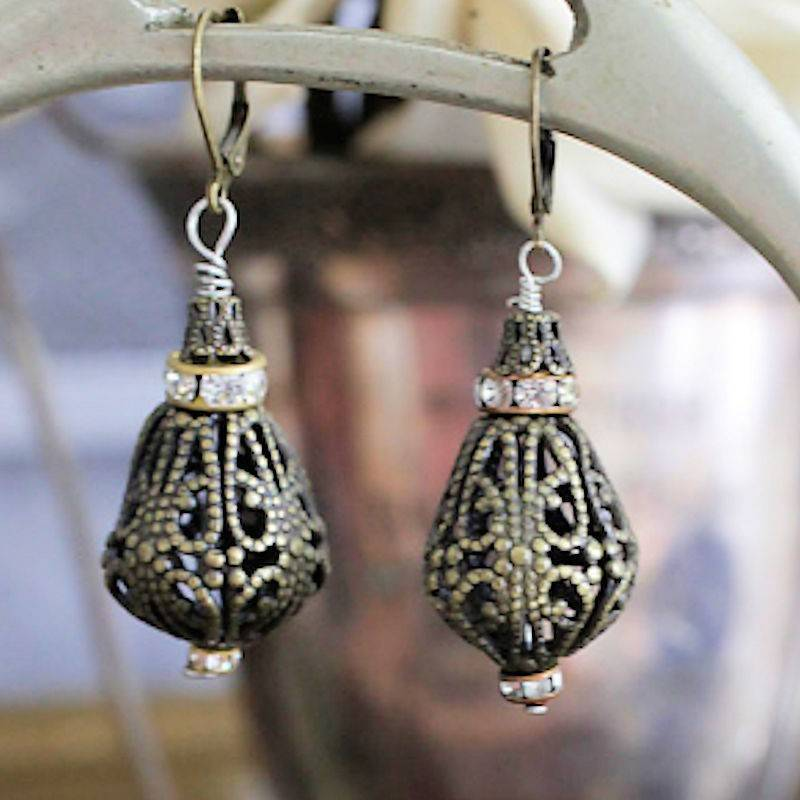 Earrings Antique Gold Ambrosia Lace