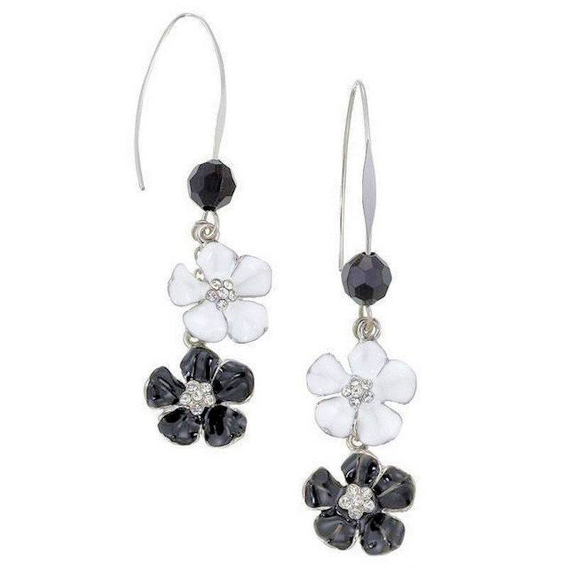 Earrings Romantic Casablanca with Black and White Flowers