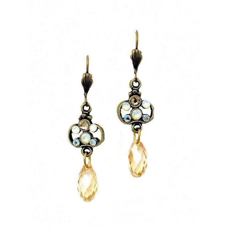Earrings Crystal Champagne Dangles