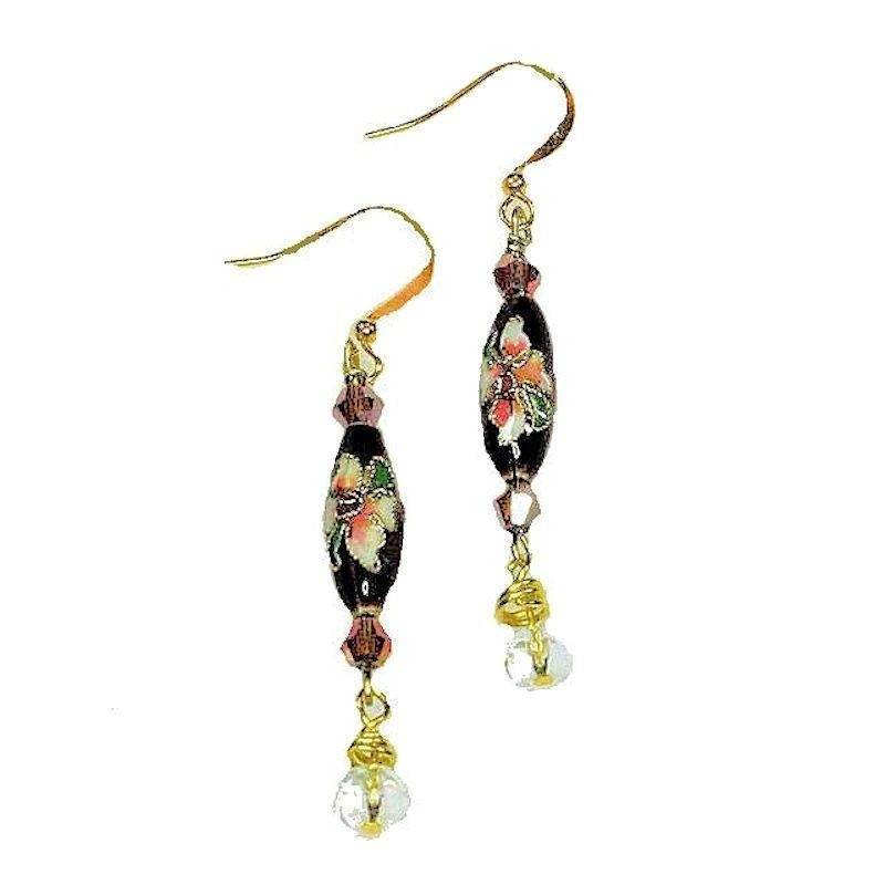 Earrings Beaded Cloisonne Delight with Crystal Droplet