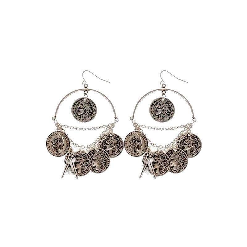 Earrings Silver Gypsy with Coin and Key Charms