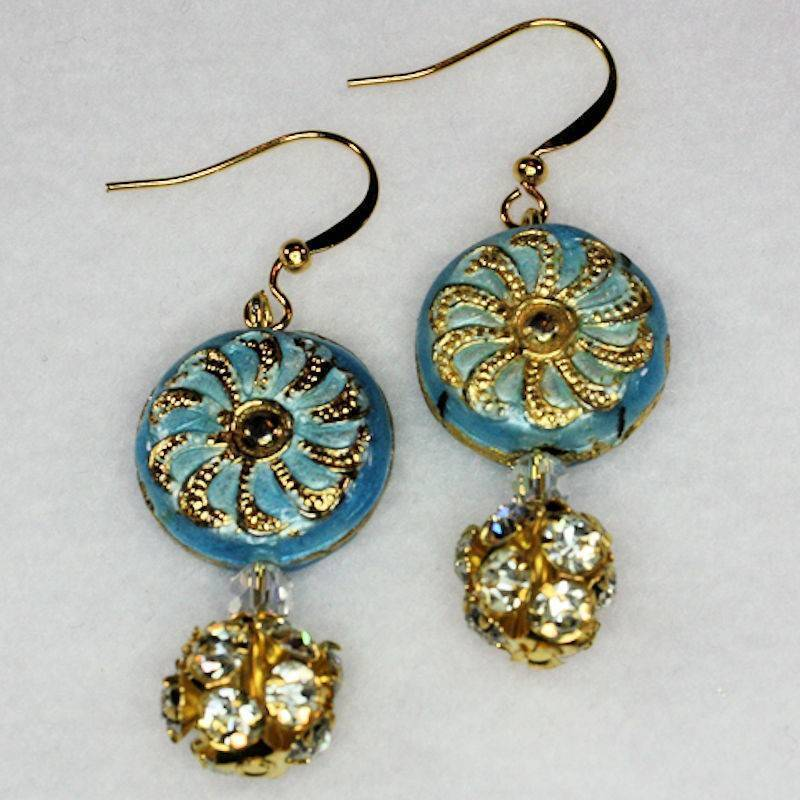 Earrings Crop Circles Beaded Cloisonne and Crystals