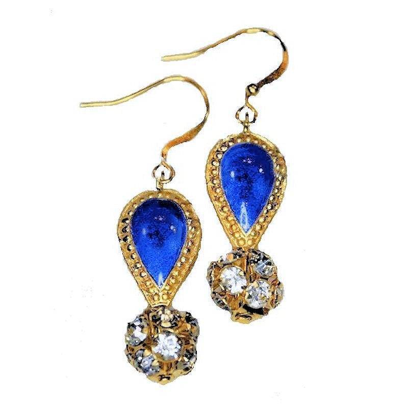 Earrings Magical Crystal Ball and Cloisonne Drop