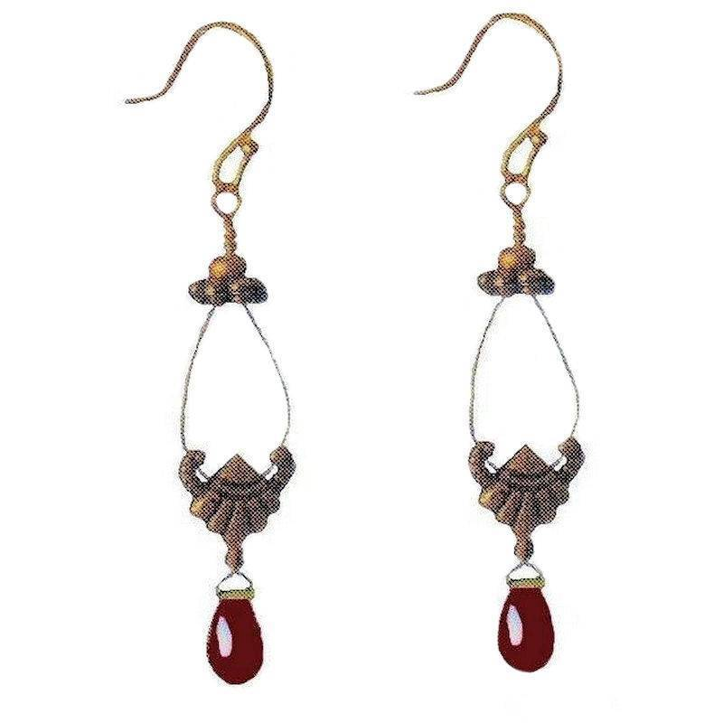 Earrings Vintage Filigree Garnet Drop