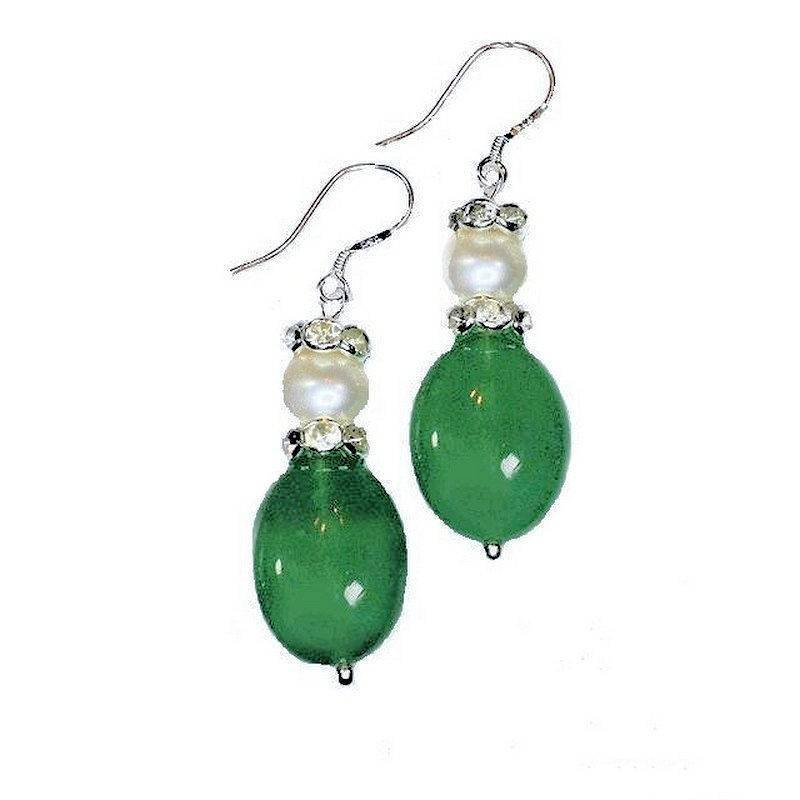 Earrings Pearl and Jade Gemstones for Love and Inner Peace