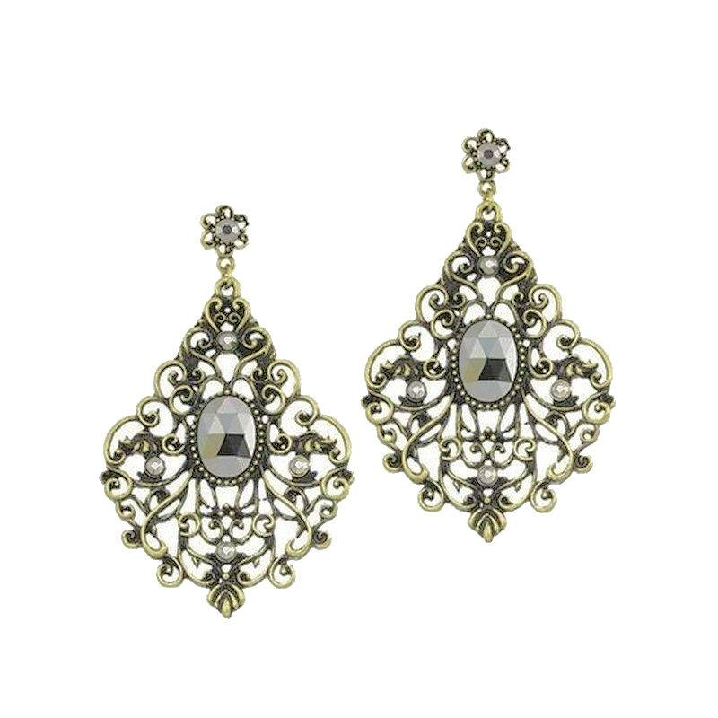Earrings Vintage Jeweled Lace