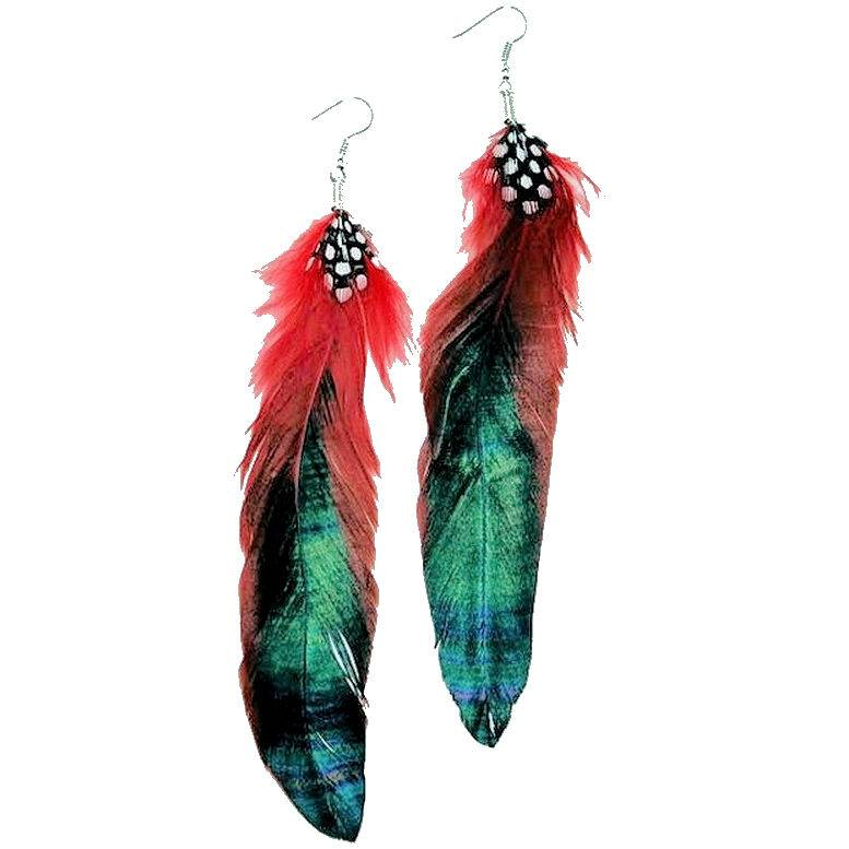 Feather Earrings Tibet Extra Long