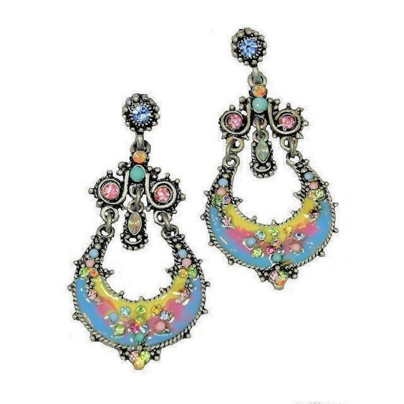 Earrings Chandelier Mystical Brilliance Multicolored Crystals