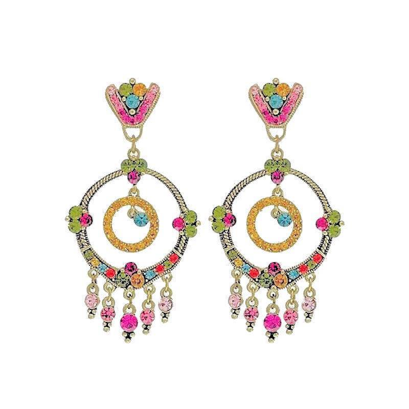 Earrings Chandelier Multicolored Charming Spring Delight