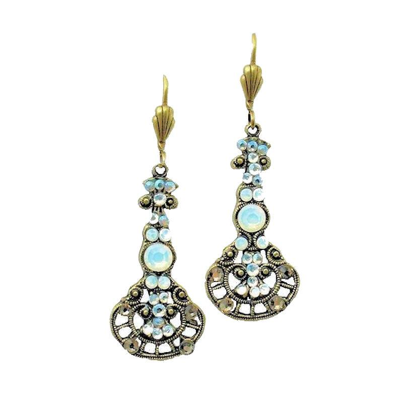 Earrings Opal Gemstones and Crystals in Pendulum Style