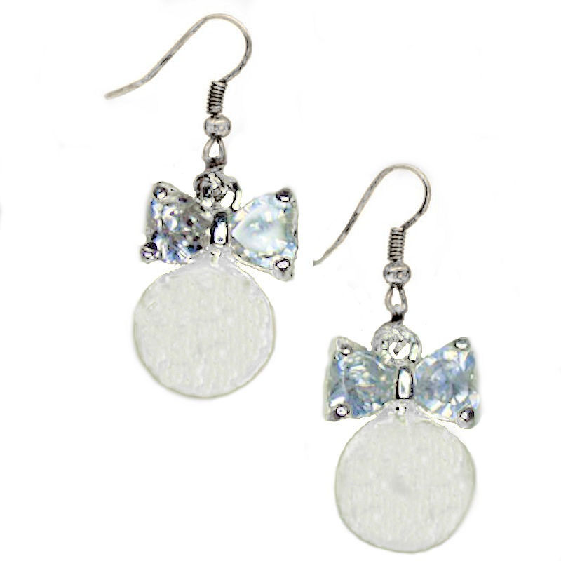 Earrings Pearl Crystal Bridal Bow to Tie the Knot to Stay
