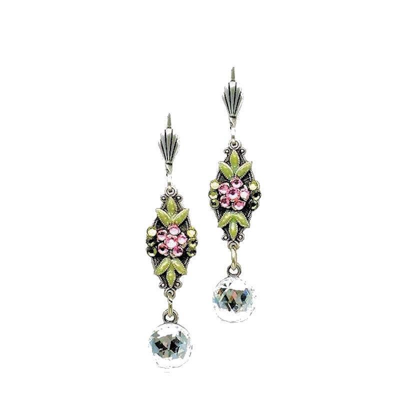 Earrings Designer Crystal Droplets and Crystal Flowers