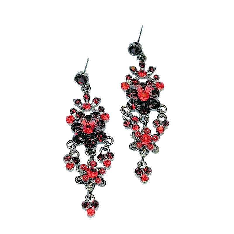 Earrings Chandelier Passionate Embrace Red Crystal Delight