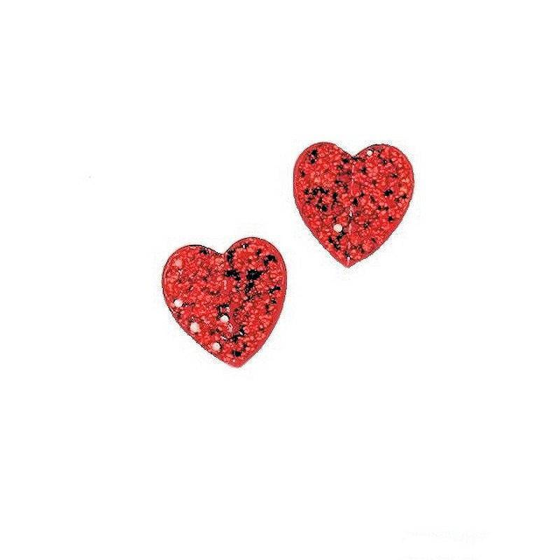 Earrings Red Hearts on Fire with Glittering Crystals