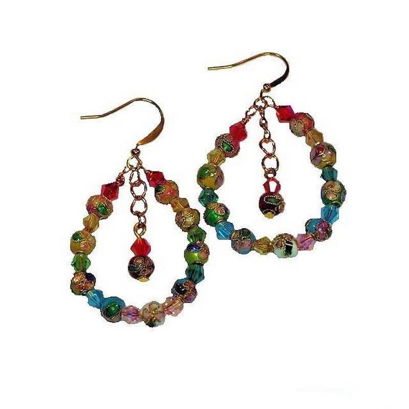 Earrings Crystal Enchanted Colorful Cloisonne Bead Loops