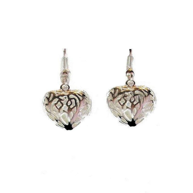 Earrings Silver Filigree 3D Heart Charm