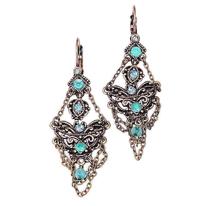 Earrings Vintage Romance Chandelier Style with Teal Crystals