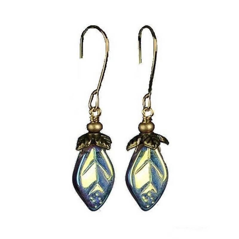 Earrings Leaf Drop in Topaz by Robin Goodfellow