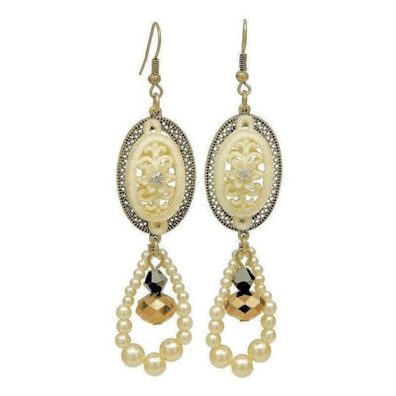 Earrings Vintage Romance Lace and Pearls