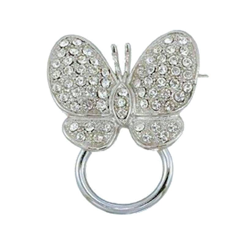 Brooch Eye Glass Holder Crystal Butterfly