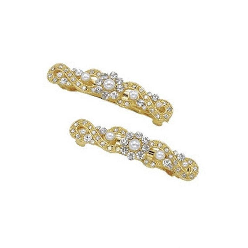 Hair Barrettes Crystal and Pearl Set of 2