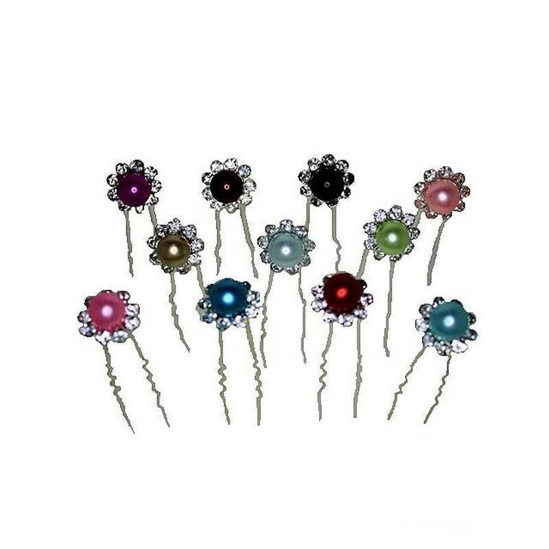 Bridal or Prom Hair Pins Crystal and Pearl Bead Flower