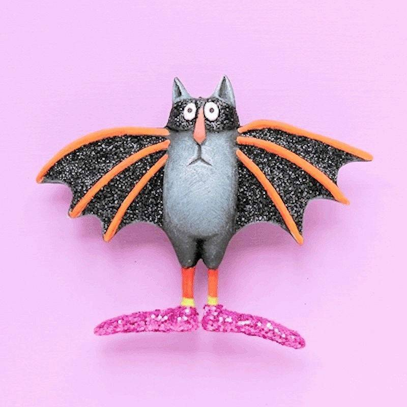 Bat Cat Halloween Lapel Pin by Patience Brewster