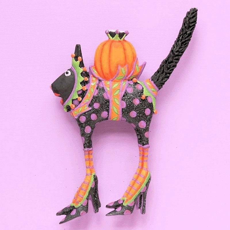 Halloween Pin Charming Cat Couture by Patience Brewster - Click Image to Close