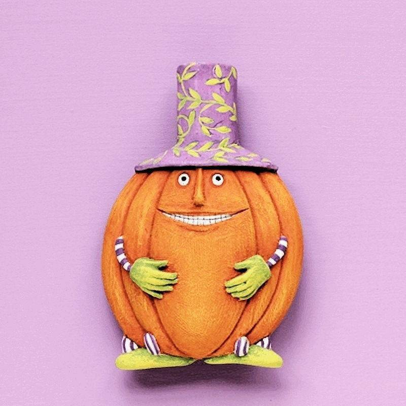 Halloween Lapel Pin Gourdon the Pumpkin Man by Patience Brewster