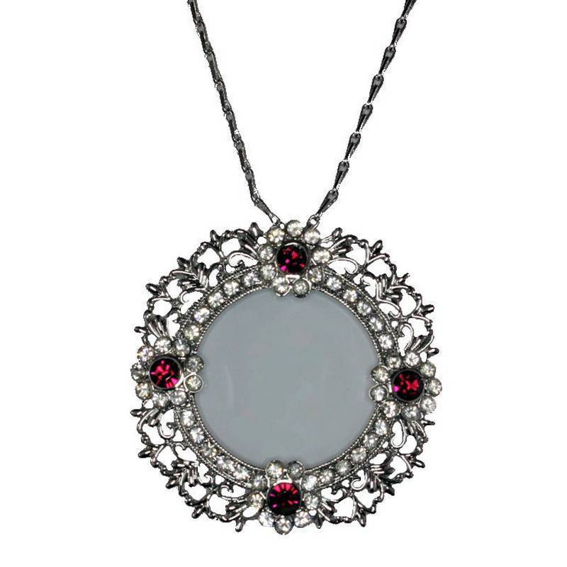 Necklace Magnifying Glass Center Red or Black Crystals