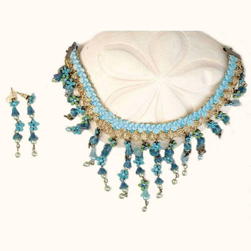 Jewelry Set Choker Necklace Floral Enchantress with Earrings
